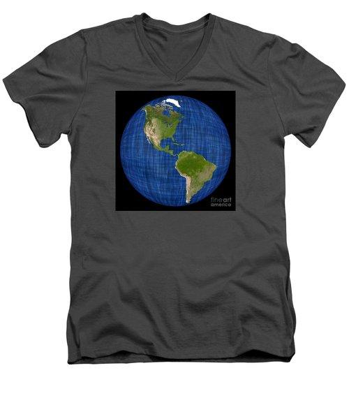 Americas On A Globe The Western Hemisphere Men's V-Neck T-Shirt