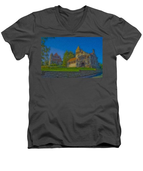Ames Hall And Ames Free Library Men's V-Neck T-Shirt
