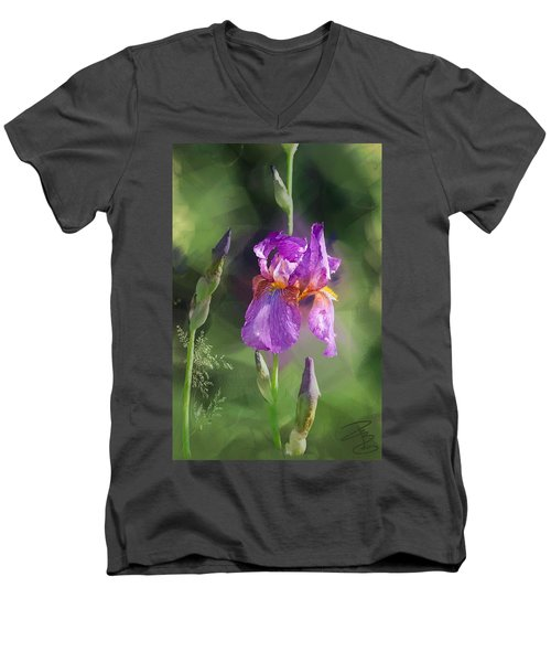Amethyst Iris 2 Men's V-Neck T-Shirt by Debra Baldwin