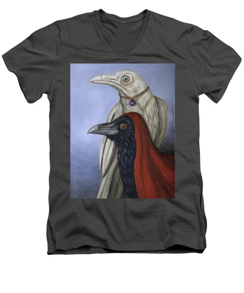 Men's V-Neck T-Shirt featuring the painting Amethyst by Leah Saulnier The Painting Maniac