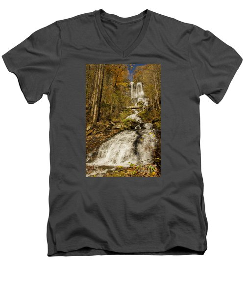 Amicola Falls Gushing Men's V-Neck T-Shirt by Barbara Bowen