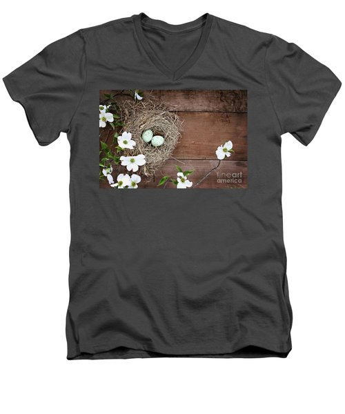 Amid The Dogwood Blossoms Men's V-Neck T-Shirt by Stephanie Frey