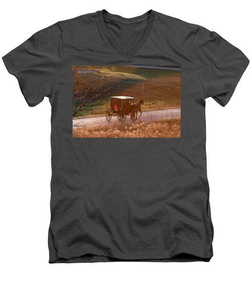 Amish Buggy Afternoon Sun Men's V-Neck T-Shirt
