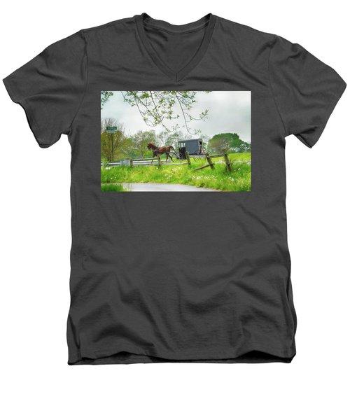 Amish Buggy Along Ronks Road Men's V-Neck T-Shirt