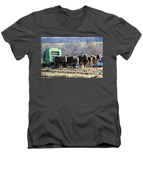 Amish Haymaker In Lancaster County, Pennsylvania Men's V-Neck T-Shirt