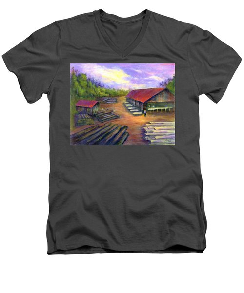 Men's V-Neck T-Shirt featuring the painting Amish Lumbermill by Gail Kirtz