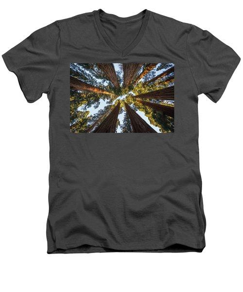 Amongst The Giant Sequoias Men's V-Neck T-Shirt by Alpha Wanderlust