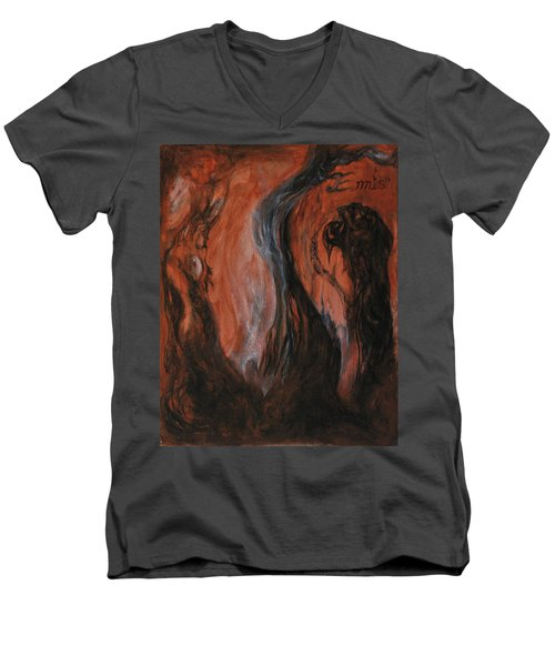 Men's V-Neck T-Shirt featuring the painting Amongst The Shades by Christophe Ennis