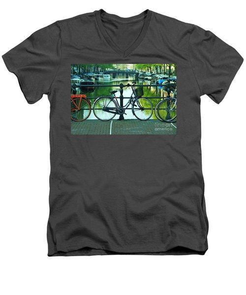 Men's V-Neck T-Shirt featuring the photograph Amsterdam Scene by Allen Beatty