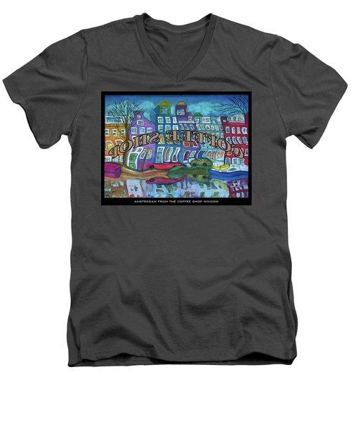 Amsterdam Through The Coffee Shop Window Men's V-Neck T-Shirt