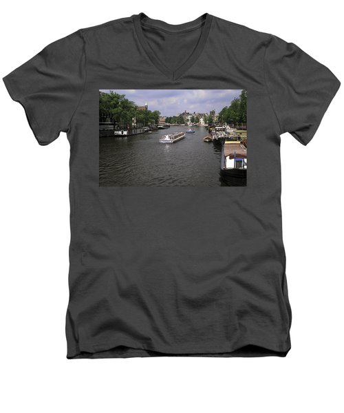 Amsterdam Water Scene Men's V-Neck T-Shirt
