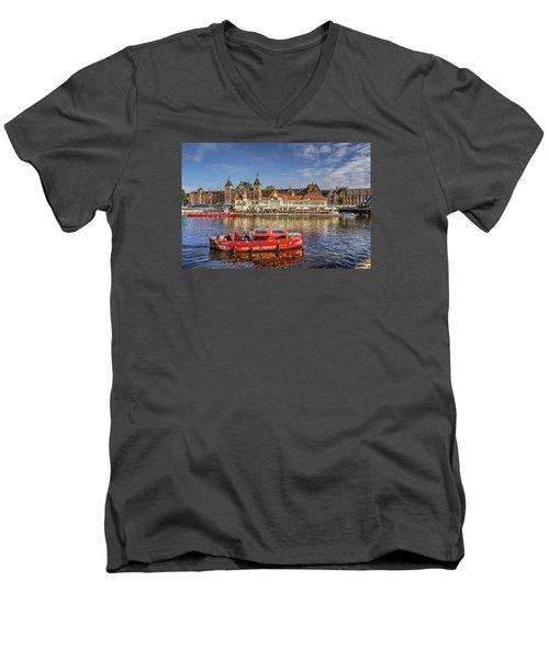 Amsterdam Waterfront Men's V-Neck T-Shirt by Uri Baruch