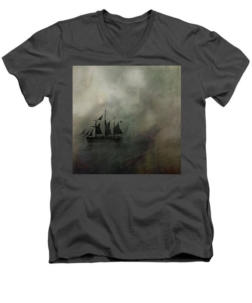 Men's V-Neck T-Shirt featuring the digital art Amundsen And Fram by Andy Walsh