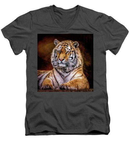 Amur Tiger Men's V-Neck T-Shirt by Brian Tarr