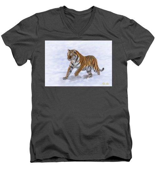 Men's V-Neck T-Shirt featuring the photograph Amur Tiger Running In Snow by Rikk Flohr