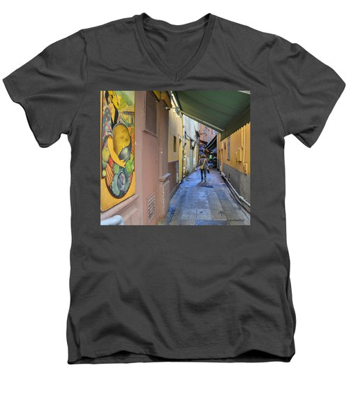 Men's V-Neck T-Shirt featuring the photograph An Alley In Nice by Allen Sheffield