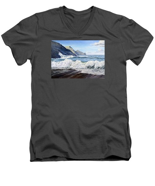 Men's V-Neck T-Shirt featuring the painting An April Morning At Crackington Haven by Lawrence Dyer