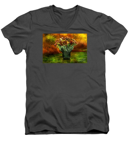 Men's V-Neck T-Shirt featuring the digital art An Armful Of Tulips by Johnny Hildingsson