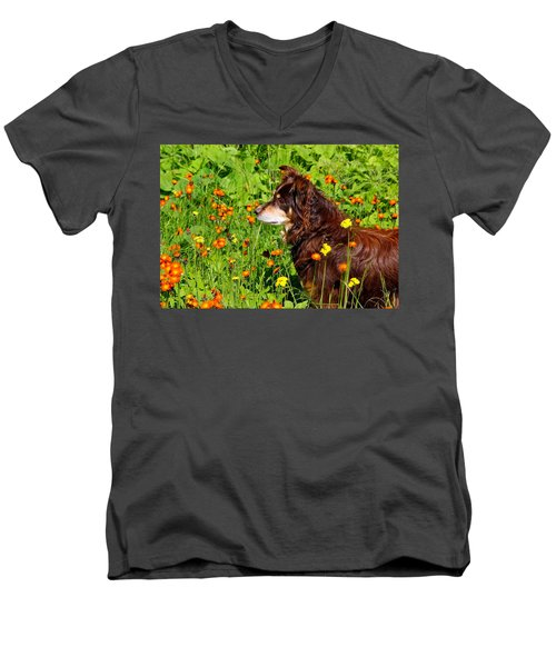 Men's V-Neck T-Shirt featuring the photograph An Aussie's Thoughtful Moment by Debbie Oppermann