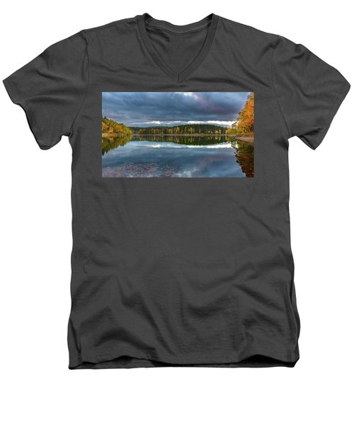An Autumn Evening At The Lake Men's V-Neck T-Shirt by Andreas Levi