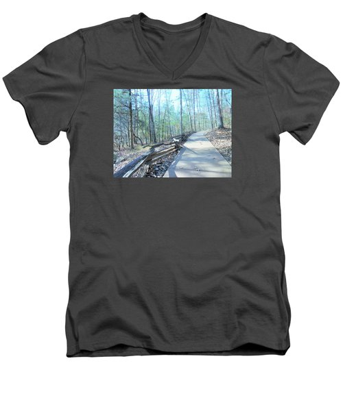 Men's V-Neck T-Shirt featuring the photograph An Autumn Walk In The Woods by Kay Gilley