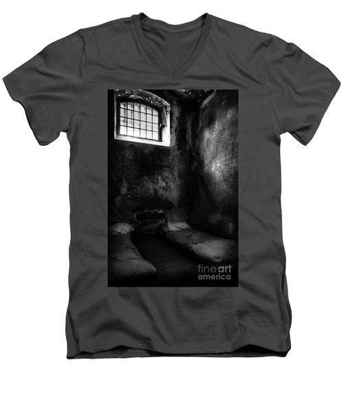 Men's V-Neck T-Shirt featuring the photograph An Empty Cell In Old Cork City Gaol by RicardMN Photography