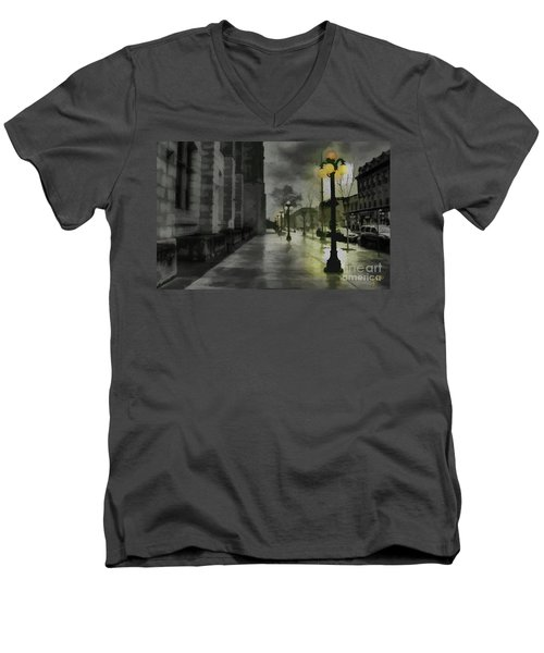 Men's V-Neck T-Shirt featuring the mixed media An Evening In Paris by Jim  Hatch