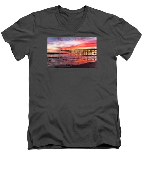 Men's V-Neck T-Shirt featuring the photograph Seacliff Sunset by Lora Lee Chapman