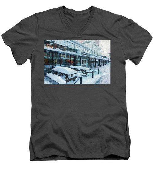 An Icy Quincy Market Men's V-Neck T-Shirt