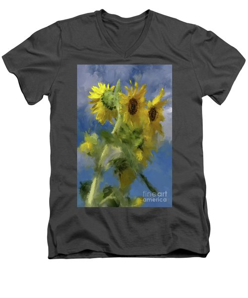Men's V-Neck T-Shirt featuring the photograph An Impression Of Sunflowers In The Sun by Lois Bryan