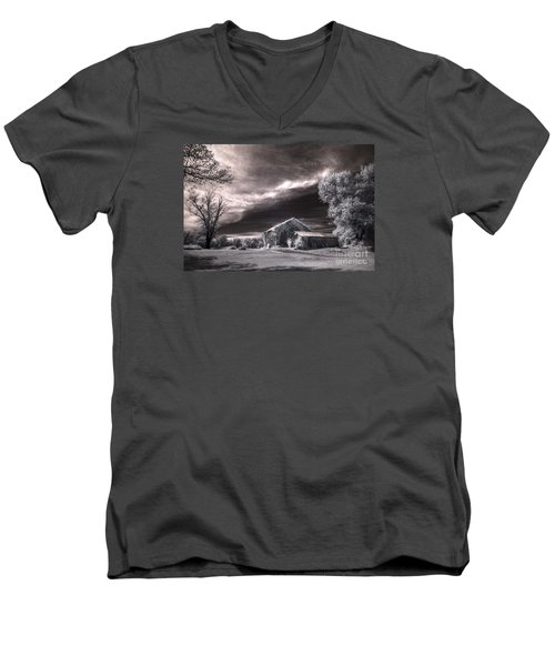 Men's V-Neck T-Shirt featuring the digital art An Ivy Covered Rustic by William Fields