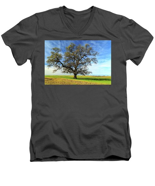 Men's V-Neck T-Shirt featuring the photograph An Oak In Spring by James Eddy