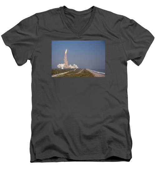 An Oceanside View Of The Sts-29 Discovery Launch From Pad 39b. Men's V-Neck T-Shirt
