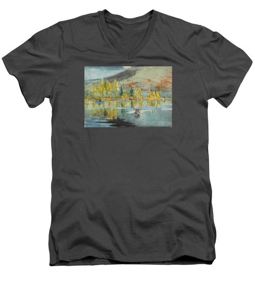 Men's V-Neck T-Shirt featuring the painting An October Day by Winslow Homer