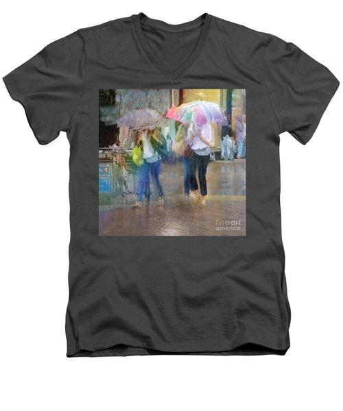 Men's V-Neck T-Shirt featuring the photograph An Odd Sharp Shower by LemonArt Photography