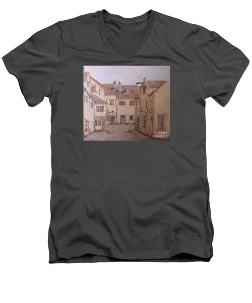 Men's V-Neck T-Shirt featuring the painting An Ode To Charles Dickens  by Annemeet Hasidi- van der Leij