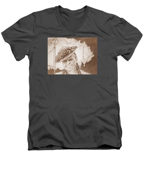 An Old Fashioned Girl In Sepia Men's V-Neck T-Shirt by Antonia Citrino