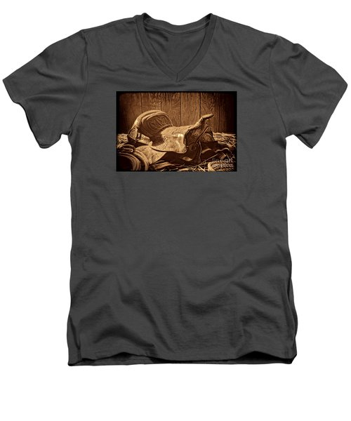 An Old Saddle Men's V-Neck T-Shirt by American West Legend By Olivier Le Queinec