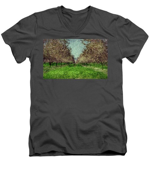 An Orchard In Blossom In The Eila Valley Men's V-Neck T-Shirt
