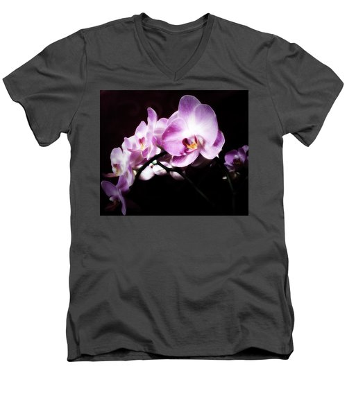 An Orchid For You Men's V-Neck T-Shirt by Gabriella Weninger - David