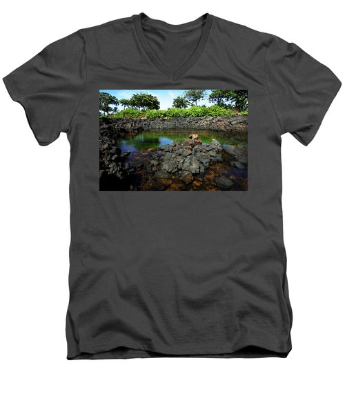 Men's V-Neck T-Shirt featuring the photograph Anchialine Pond by Anthony Jones