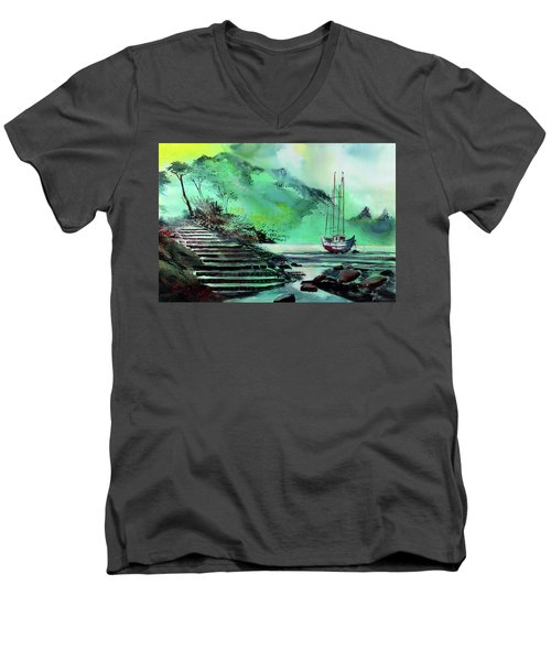 Men's V-Neck T-Shirt featuring the painting Anchored by Anil Nene