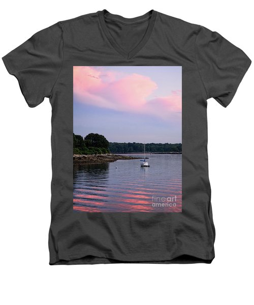 Anchored At Peaks Island, Maine  -07828 Men's V-Neck T-Shirt