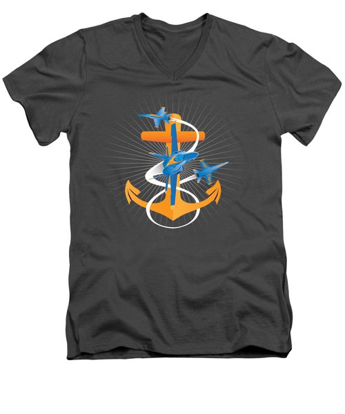 Anchors Aweigh Blue Angels Fouled Anchor Men's V-Neck T-Shirt
