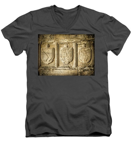 Men's V-Neck T-Shirt featuring the photograph Ancient Carvings by Nick Bywater
