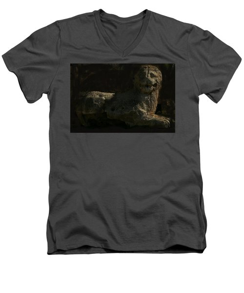 Ancient Lion - Nocisia  Men's V-Neck T-Shirt by Jim Vance