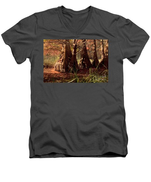 Men's V-Neck T-Shirt featuring the photograph Ancient Tree At Lake Murray by Tamyra Ayles