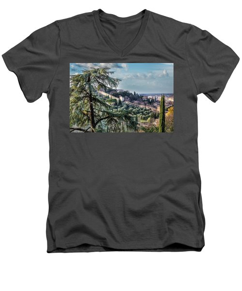 Men's V-Neck T-Shirt featuring the photograph Ancient Walls Of Florence by Sonny Marcyan