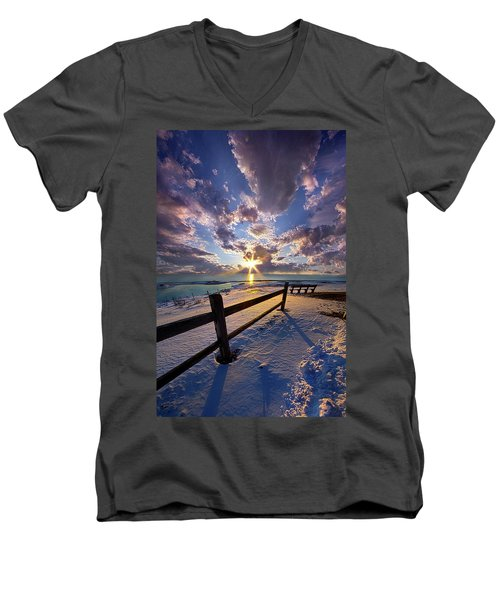 Men's V-Neck T-Shirt featuring the photograph And I Will Give You Rest. by Phil Koch