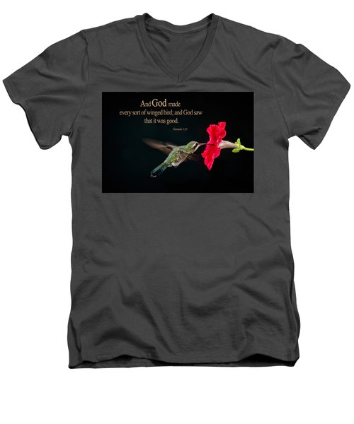 And It Was Good Men's V-Neck T-Shirt